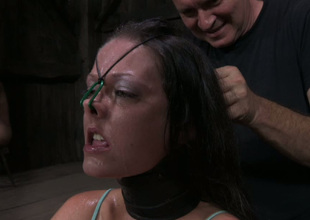 Wicked minded bondage master puts his powerless slave in shackles