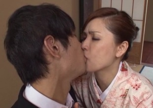 Horny Japanese brunette prickle sucks dong and rides it doggystyle