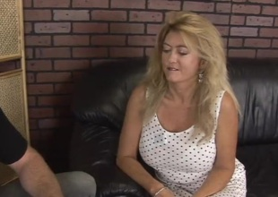 Blond chubby MILF rides dick and gets her mouth fucked