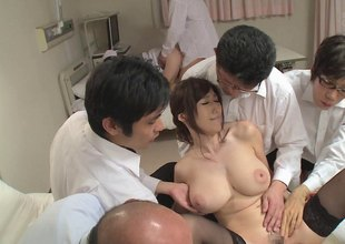 Salacious Julia gets her big racy boobs squeezed and fucked in an orgasmic group sex