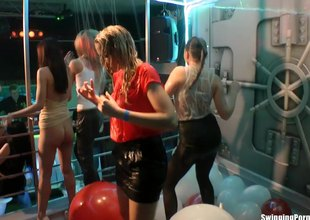 European pornstars dancing and getting wet within reach a sex party