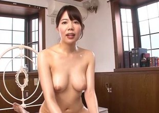 Oriental harpy in red fishnet bodystockings gets drilled hardcore