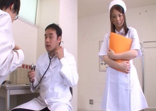 Large boobs nurse fondled and fucked by an eager doctor