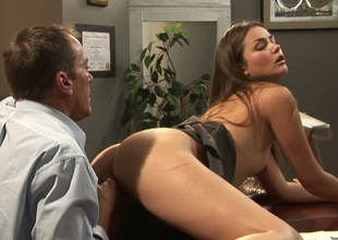 Dark brown hottie with small boobs Allie Haze fucks her boss Randy Spears