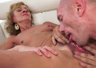 Lustful granny Katherin gets her ruined snatch hammered by a bald dude