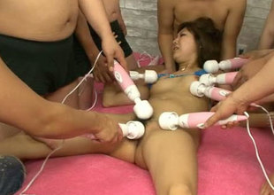 Playful Japanese girl Mahiru Tsubaki is toy fucked in provocative gangbang session