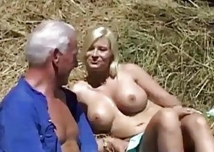 Old farmer Joe fucks hard a breasty juvenile golden-haired