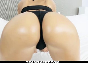 Tanned skin gorgeous sexy chick with thick curvy butt