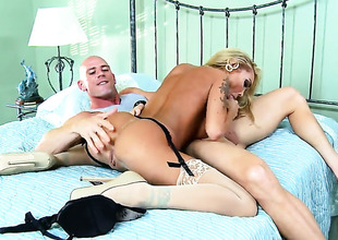 With juicy boobs is a battle-axe who knows what to do with Johnny Sins s erection