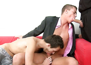 Excited sweetie gets covered in sticky nectar after sex with hot dude