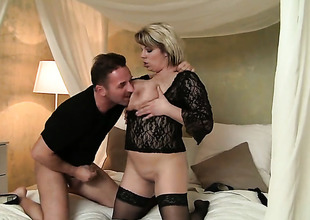 Adorable sweetie is out of control with David Perrys pulsating sausage in her mouth