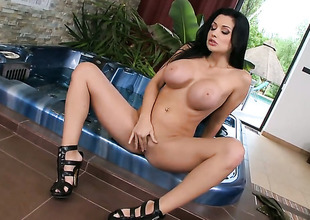 Aletta Ocean with large jugs does striptease before she sticks her fingers in her bush