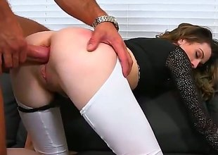 Skinny MILF downland top and bottomless white leggings implores for anal after cock sucking, She gives hot oral-service and then gets her butt drilled from behind. Nice clothed sex with easy lady!