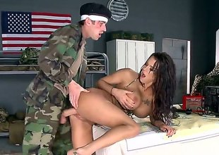 Stunningly sexy long legged breasty brunette Peta Jensen with lovely arse and fabulous huge mangos gets her tight pussy drilled hard by big dicked soldier. This is the sex therapy Danny D wont pretty soon forget.