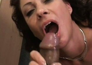 Slutty older lady Vanessa Videl copulates a big black schlong in the office