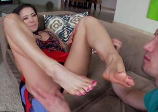 A sexy Oriental beauty is plan to give him a wonderful and sensual footjob. Hes gonna love it so much that hes plan to spray his jizz all over her big feet and her firm legs