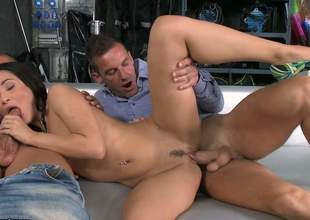 Slutty brunette Kristall Rush with neatly trimmed pussy gets tag teamed in sexy threesome with her high heels on. This babe takes pulsating padlock in her tight asshole too. This babe is totally fuckable!