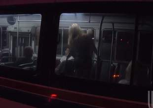 Jessica Drake and her family had to take the motor coach since the car broke. Little did they know that they were all gonna get turned on and start an intense family fuckfest in the motor coach