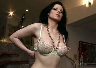 Devon Darling with massive knockers and bald snatch has some time to play with her snatch
