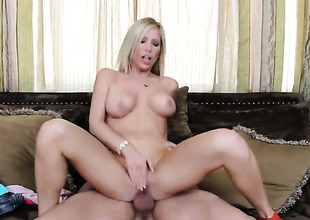 Tasha Reign with racy knockers and bald beaver gets her love tunnel humped hard and unfathomable by Ryan Driller in a wide multiformity of positions