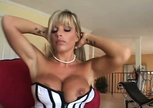 Large breasted blonde cougar can't resist a young stud with a long prick