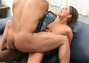Appealing girl with large cock-sucking experienced Lindsay Layne pleasures studs