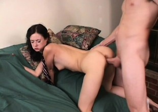 Lovely brunette college girl sucks a big rod and enjoys a unfathomable fucking