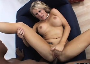 Big breasted blonde mommy Cassidy Blue feeds her desire for black dong