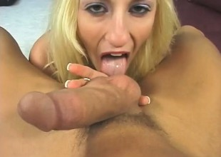 A hot and horny tow-headed rides a huge hard dick in a POV scene
