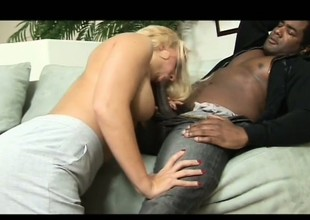 Hot and bothered blond witch gives her puss to nasty black gent