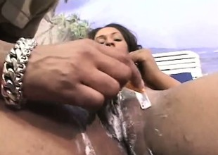 Sassy Fox gets her big vagina shaved and then mounts guy's dick