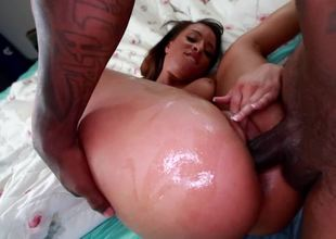 Black girl has cum dripping from her mouth after she sucks