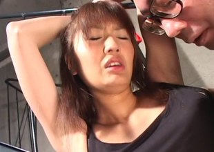 Enticing Japanese MILF bitch in underware gets a snatch penalty
