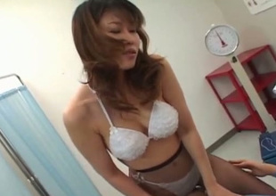 The man Japanese doctor treats her patient with awesome 69 sex