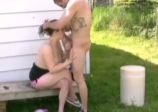 Cute amateur sweetheart getting superb deepthroath in close up shoot outdoor