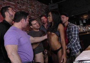 Skinny black slut in the bar gangbanged by white guys
