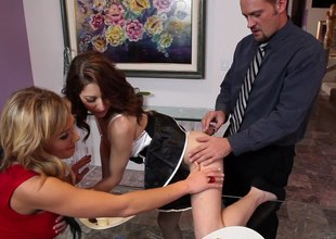 A couple hires a sexy maid then has a threesome with her
