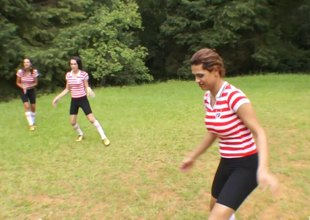 Super horny trannies playing soccer team fuck the male referee hardcore in a close up discharge
