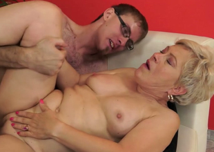 Playful aged with tiny boobs Ursula Grande fucks a stud