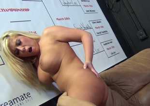 Dissolute blonde hoe with huge boobs Heidi Hollywood banged well