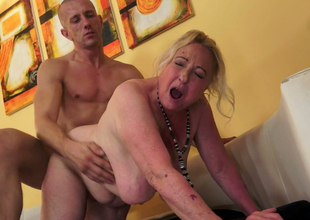 Bulky and unattractive granny Sila gets drilled wide of a bald dude