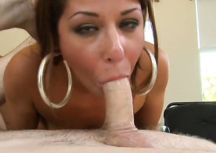 Brunette Mia Gold with small boobs and bald-headed twat is skilled suited to make dude cum again and again