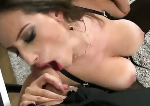 Brunette Sensual Jane moans while engulfing James Brossmans love torpedo harder and harder