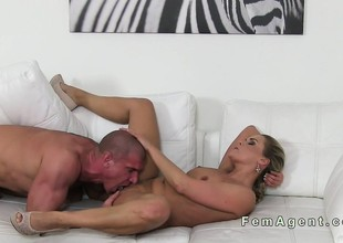 Muscled guy fucks female agent pov