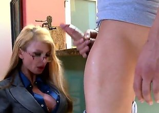 Light-complexioned Taylor Wane with giant hooters and shaved muff warms Xander Corvus up and takes his dick