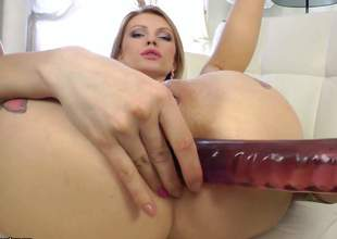 Nasty blonde Lana Roberts takes big red sex-toy in her dark hole before jock sucking. She plays with her mouth and then gets her mouth fucked with no mercy. Watch Lana Roberts do wild things!