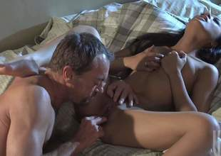 Kaylani Lei is a black haired Oriental babe and that babe simply adores pussy fingering. Shes gonna awarding her man for that by riding his large and strong mega sized jimmy