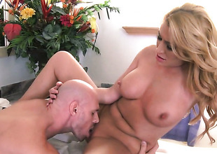 Johnny Sins makes his erect sausage disappear in fuck crazed Jennifer Bests love hole