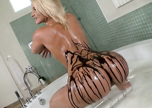 Anikka Albrite with sparkling wine bottom gives pecker massage