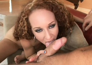 Wonderful redhead with big boobs needs a hard cock banging her pussy